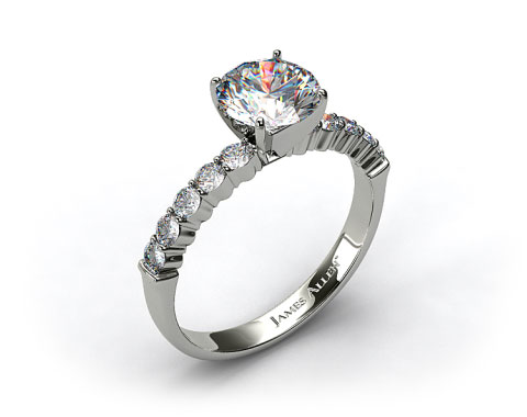 18k White Gold Common Prong Ten Round Diamond Engagement Ring